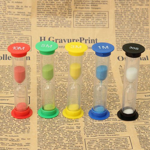 5Pcs/Set Glass Hourglass Timer For Offices Decor Ideal Gift