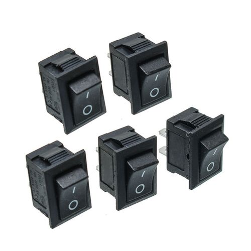25PCS Black Push Button Mini Switch 6A-10A 110V 250V KCD1-101 2Pin Snap-in On/Off Rocker Switch 21MM*15MM