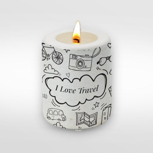 Travel: I Love Travel Big Candle Holder