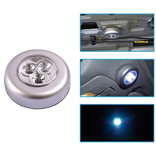 Battery Powered 3 LED Tap Touch Light Lamp - Silver