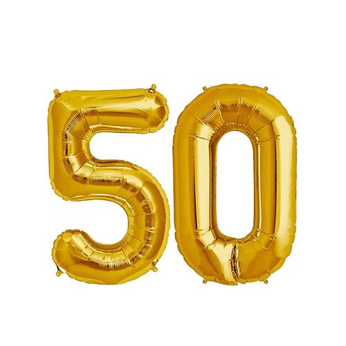 Number 50 Birthday Ballons - Gold