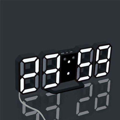 Checkeck Modern Digital LED Table Desk Night Wall Clock Alarm Watch 24 Or 12 Hour Display