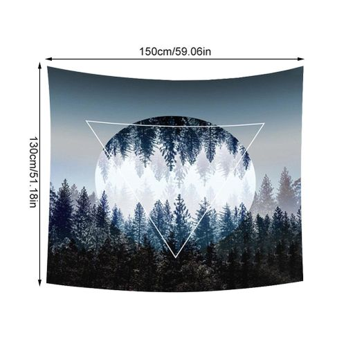Hanging Tapestry, 130 X 150 Cm Sunset Forest Ocean And Mountains Wall Hanging Tapestry For Bedroom Decoration At Home