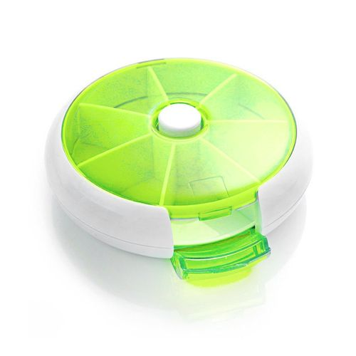 Round Shape Medicine Pill Box Compact 7 Days Weekly Travel Container