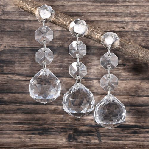 10Pcs Acrylic Crystal Beads Hanging Decor Garland Chandelier Wedding Party Home Decoration
