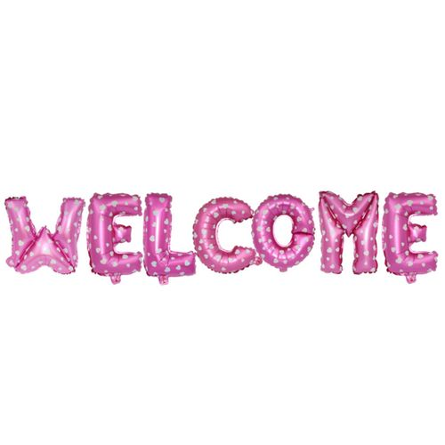 16 Inch Welcome Letter Balloon Set-PINK