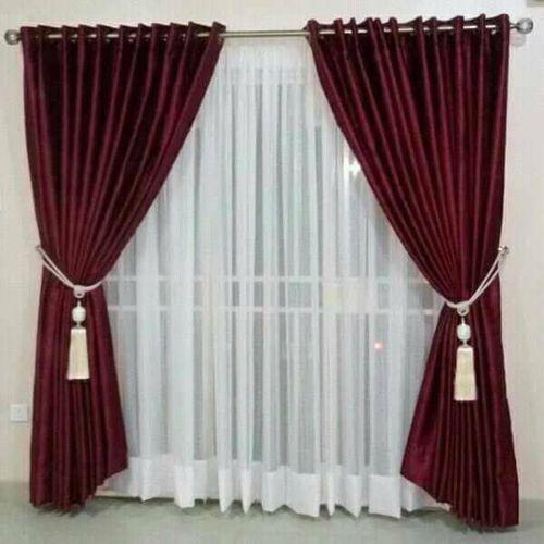 Turkish Ring Design Curtain - Wine