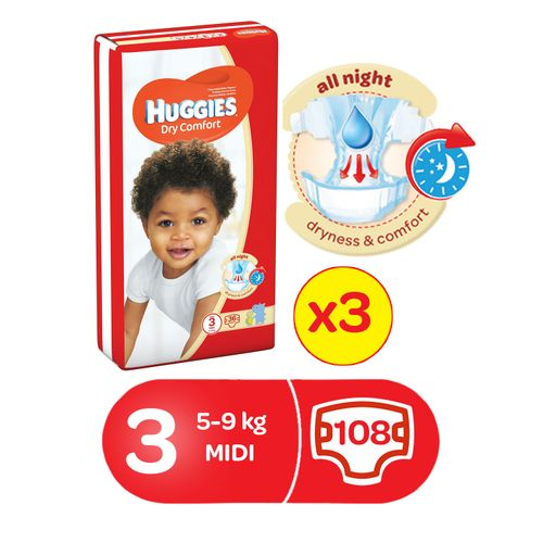 Dry Comfort Diapers, Size 3 (36x3)