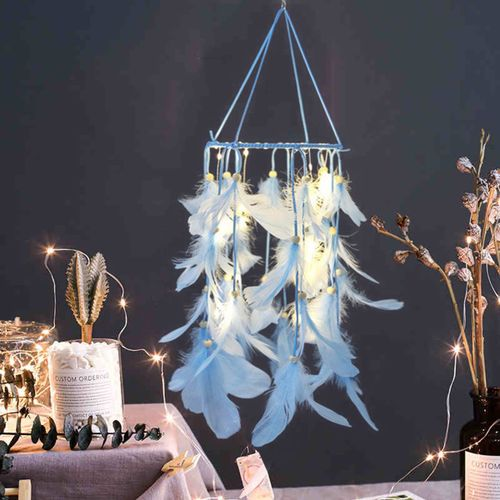 Handmade Dream Catcher LED Light Feathers Room Hanging Craft Home Decor-with Light