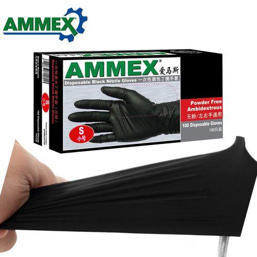 Ammex 100Pcs Disposable Gloves Oil Acid Resistant Nitrile