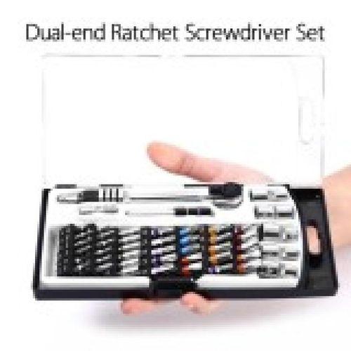 Dual-end Ratchet Hexagonal Socket Screw Nut Driver Hardware Repair Tool Box 46pcs Set