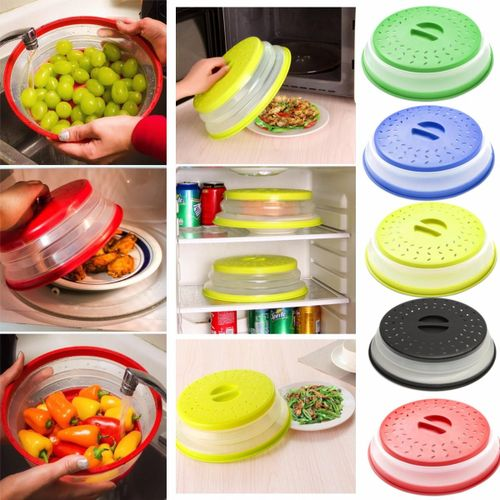 Microwave Plate Cover Collapsible Strainer Colander Storage 2 In 1 Kitchen Tools