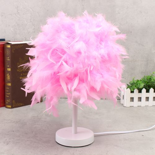 Elegant Feather Shade Table Desk Lamp Light LED Bedroom