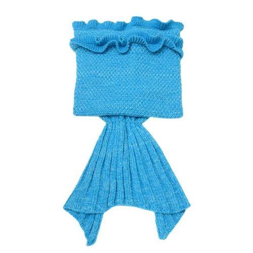 Dtrestocy Knitted Mermaid Tail Blanket Handmade Crochet Children Bed Wrap Sleeping Bag