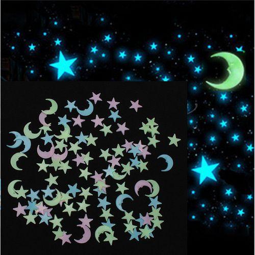 100pcs 3D Dark Light Facny Blue Stars Wall Sticker