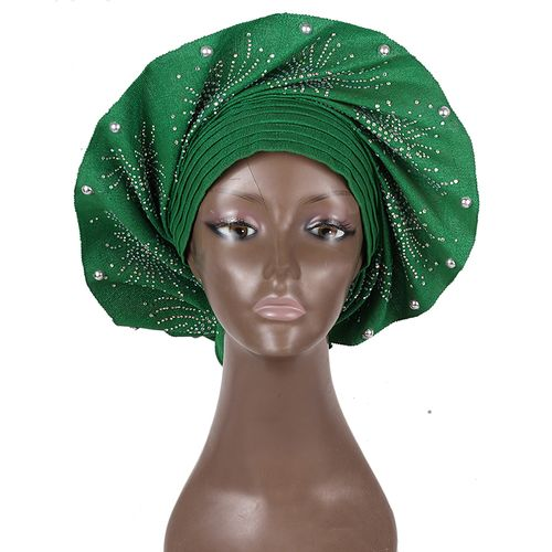 Female Fan Auto Gele With Pearls And Stones - Green