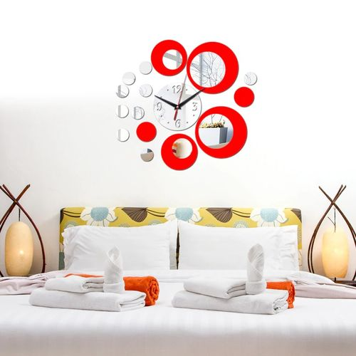 Silver Circle 3D Crystal Mirror Wall Clock Wall Sticker
