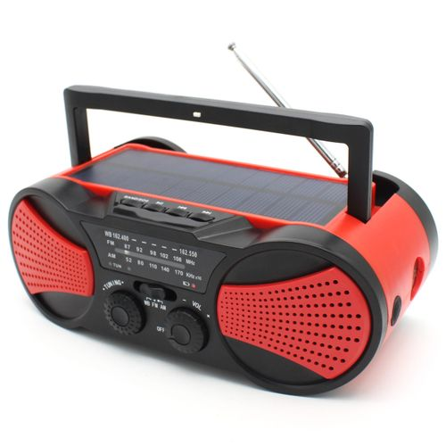 Solar Portable Radio Stereo AM FM Speaker AUX MP3 Player 2000mAh