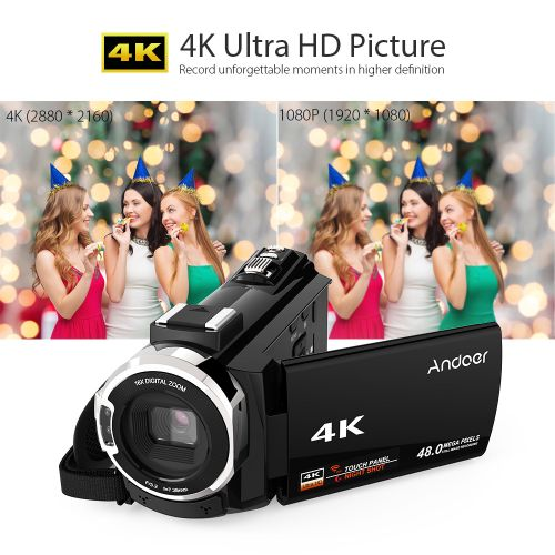 4K 1080P 48MP WiFi Digital Video Camera Camcorder Recorder With External Microphone Novatek 96660 Chip 3inch Capacitive Touchscreen IR Infrared Night Sight 16X Digital Zoom