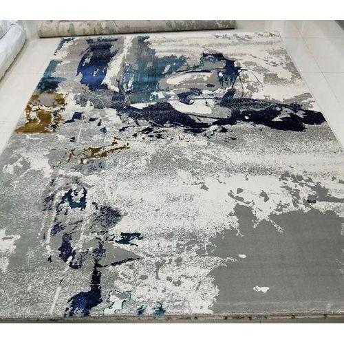 Modern Living Room Bedroom Floor Carpet Area Rug Oil Painting Abstract Effect Ink 160*230cm-Grey Blue