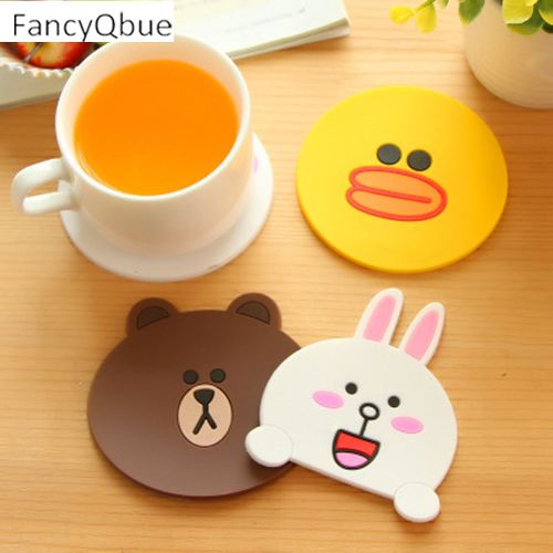 1PC Cute Cartoon Thick PVC Placemat Slip Resistance Coaster Insulated Silicone Pad Creative Home Supplies SLS