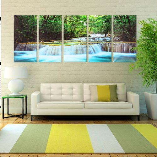 New 5PCS Canvas Painting Forest Waterfall Wall Art Picture