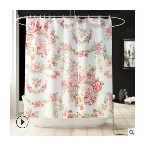 4pcs Pink Pattern Printed Shower Curtain Carpet Cover Toilet Cover Bath Mat Rug Set