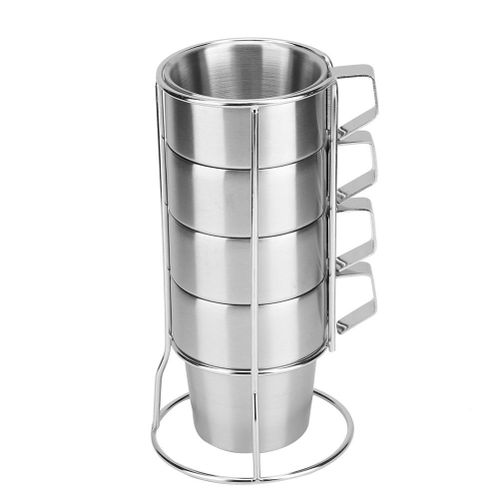 4Pcs Stainless Steel Durable Coffee Cup Mug With Cup Holder For Home Coffee Shop Use
