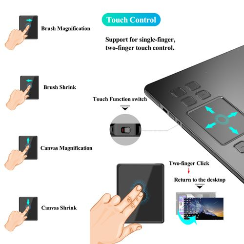 """VEIKK A50 8 Hot Key+Gesture Touch 10x6"""" 5080LPI Drawing Graphics Tablet 8192 Pen"""