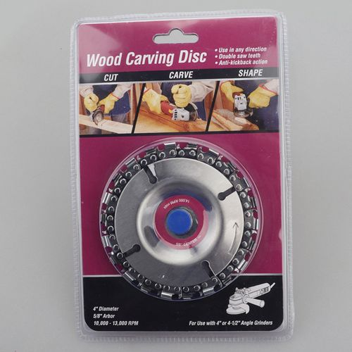 Woodworking Chain Plate Angle Grinding Wheel Wood Carving Disc-silver-