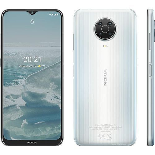 "G20, 6.5"" HD+ (4GB RAM, 64GB ROM) Android 11 (48/5/2/2)MP + 8MP Selfie - 4G - 5050mAh - Fingerprint- Glacier/Silver"