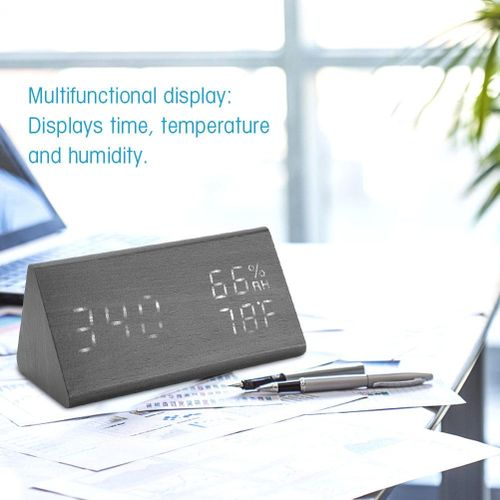 Multi-purpose Digital Alarm Clock Time Temperature Humidity LED Display For Bedroom