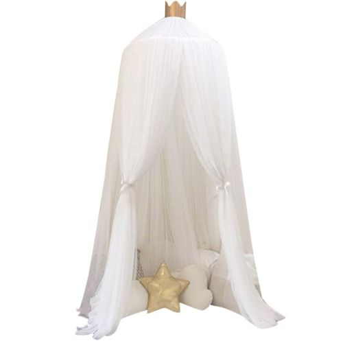 Hanging Kids Baby Bedding Dome Bed Canopy Cotton Mosquito Net Bedcover Curtain White