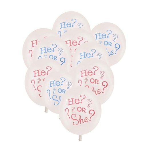 10pcs He Or She Baby Shower Gender Reveal Helium Balloons Party Decor Boy/Girl