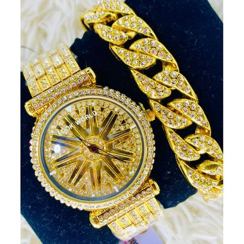 product_image_name-Fashion-2020 Spinning Watch With Hand Bracelet-Gold-1