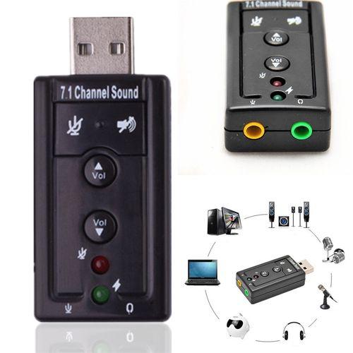 1Pcs 7.1 Channel External USB 2.0 Sound Card To 3D Audio Adapter Virtual Channel Sound For Laptop PC Desktop Notebook Computer