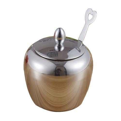 Apple-shape Sugar Bowl Stainless Steel Seasoning Jar