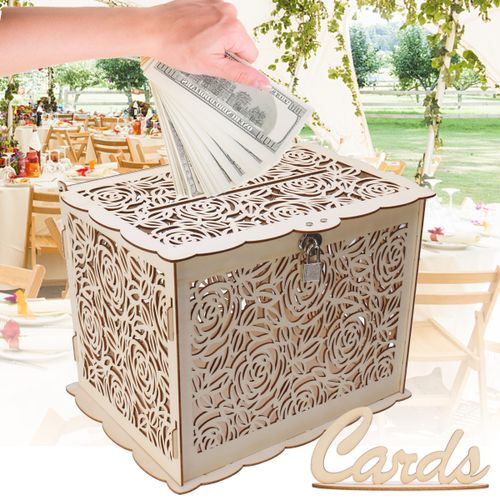 Wedding Card Post Wooden Box Collection Gift With Lock Weddings Decor 4