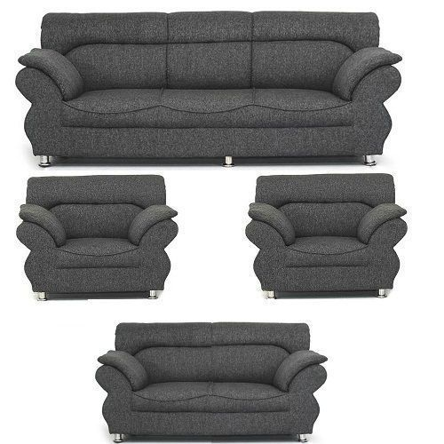 Complete Set Of 7 Seater Sofa Chairs Couches - Grey Fabric