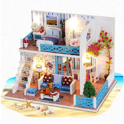 Handcraft DIY Doll House Sea Wooden Miniature Furniture Gift
