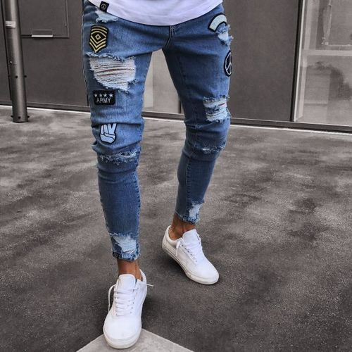 Men's Ripped Holes Jeans Skinny Distressed Fit Pants-Blue