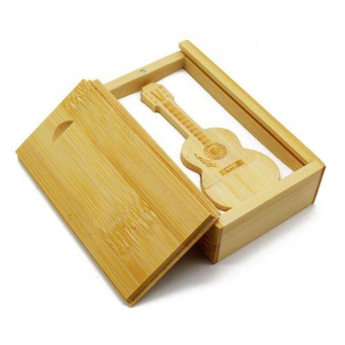 Bamboo Wood Guitar Pull Box Photo Album USB Flash Drive Memorable Gift Wood Color