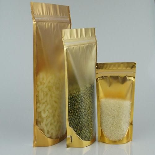 50pcs Resealable Gold Stand Up Ziplock Pouch