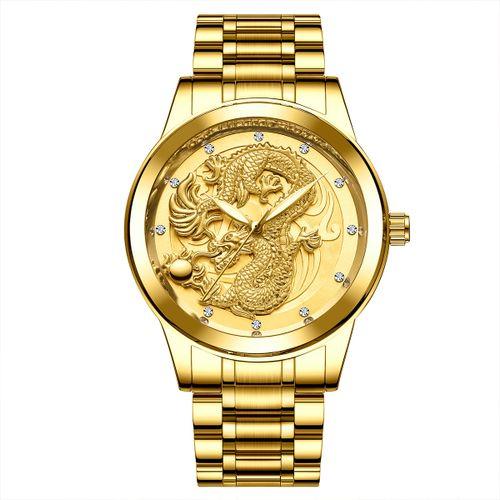 Men's Luxury Band Waterproof Quartz Watch - Gold