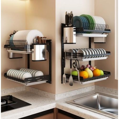 Dish Rack Stainless Steel Dry Shelf Kitchen Cutlery Wall Holder