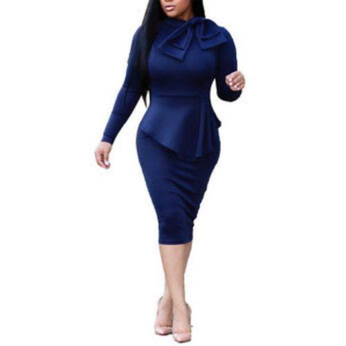 Blue Long Sleeve Elegant Bodycon Midi Dress