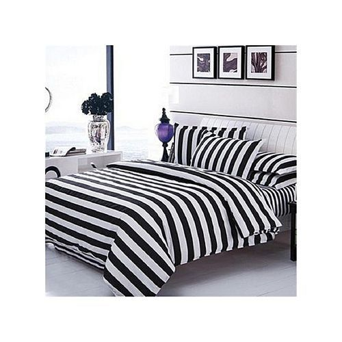 Duvet , Bedsheet With Pillow Cases- White And Black