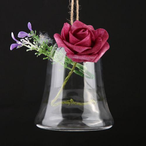 Modern Hanging Flower Glass Vase Bell Shape Hydroponic Plants Vase Planter For Flower Decoration Home