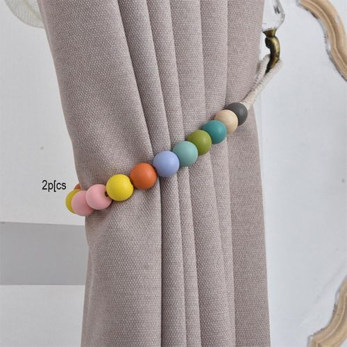 2Pcs DIY Colorful Beads Curtain Clip Strap Tieback Home Room Window TONER DECOR