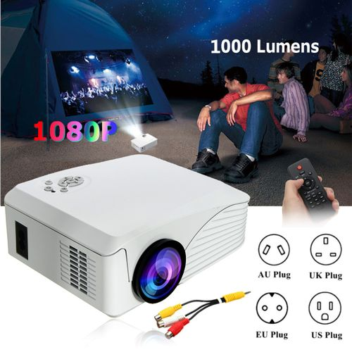 7000 Lumens HomeTheater Mini Projector Portable HD 1080P LED USB WMA AAC MP3(UK Plug)